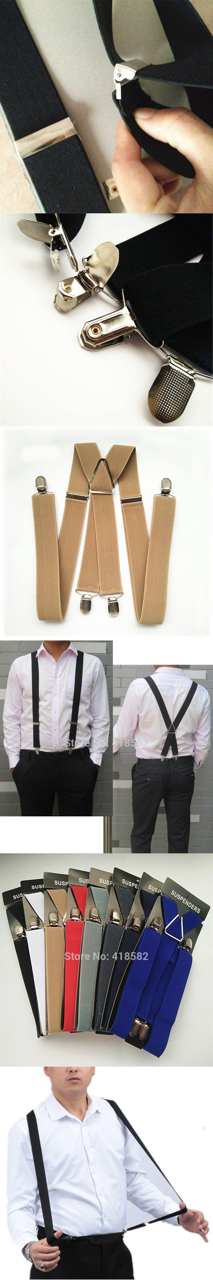 BD054-L XL size 2017 new tan color 3.5 width 4 clips Adult suspenders adjustable elastic X back pants Braces suspender for men