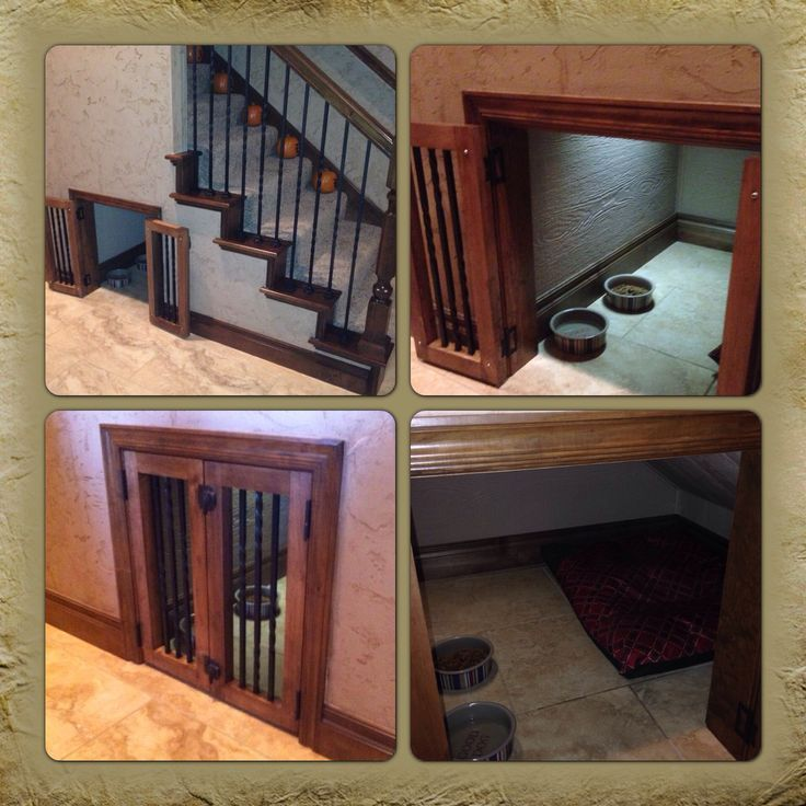 under stairs dog kennel | Dog crate my husband and his dad built under the stairs! They did a ...
