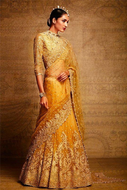 Yellow Embroidered Lehenga Sari .For This Mail Us At contact@ladyselection.com