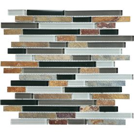 �Graphite Mixed Material Mosaic Wall Tile (Common: 12-in x 14-in; Actual: 11.87-in x 12-in)