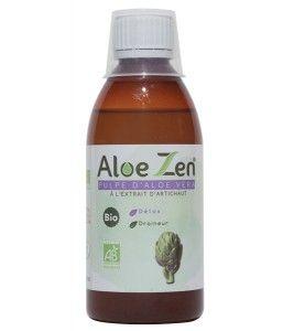 """Aloe Zen pulpe d'Aloe Vera fraîche bio à l'extrait d'artichauts contient de nombreuses vertus : - La cynarine présente dans les feuilles d'artichauts favorise un bon """" Détox """" de l'organisme - Soutien du foie et  de la vésicule biliaire  - Il Facilite la secrétion de la bile ( action cholerétique ). Particulièrement utile dans le cas d'insuffisance hépatique, de mauvaise digestion de corps gras."""