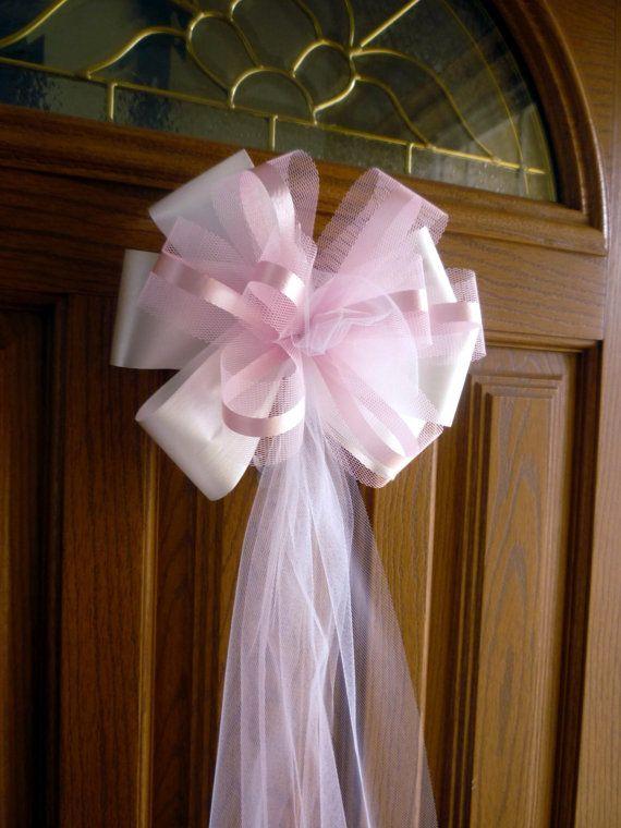 6 Large 10 Azalea Pink White Tulle Ribbon Pew Bows by giftwrapetc