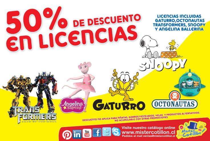 SI!! SOLO POR ESTA SEMANA LAS LINEAS DE TRANSFORMERS, GATURRO, OCTONAUTAS, SNOOPY Y ANGELINA BALLERINA TIENE UN 50% DE DESCUENTO EN TODAS NUESTRAS TIENDAS MISTER COTILLON DE SANTIAGO Y LA QUINTA REGION SOLO DESDE ESTE LUNES 03 AL 09 DE MARZO!! NO LO OLVIDES TE ESPERAMOS!!  (Descuento no incluye piñata, gorro festejado, vela y productos alternativos a la linea), No valido con otras promociones.
