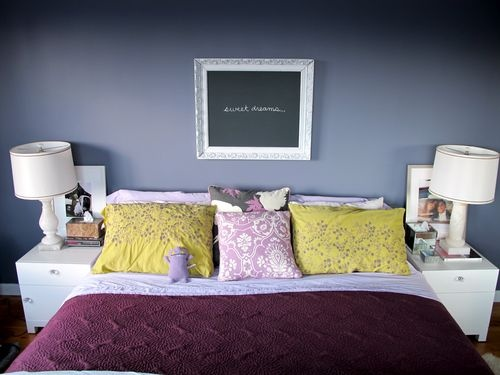 lavender and gray bedroom. YES!  Live the add of various purples and touch of yellow (with auto-piloting to popular yellow/gray)