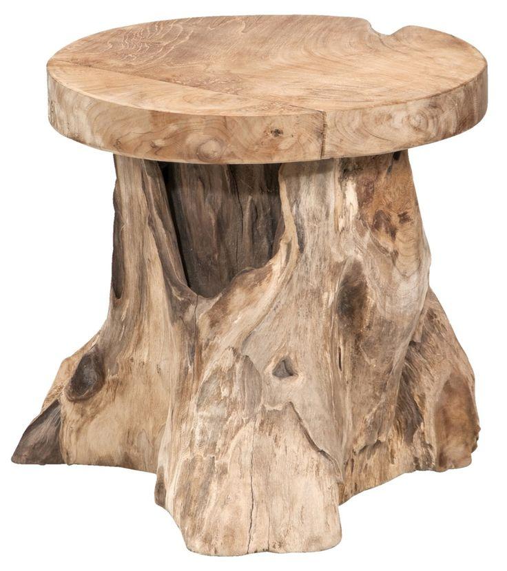 Bijzettafel Borneo: stoere houten bijzettafel met naturel look
