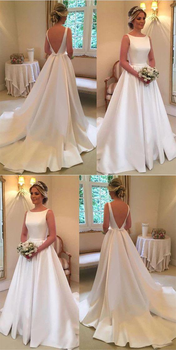 A Line Scoop Neck Long Satin Backless Wedding Dresses For Bride