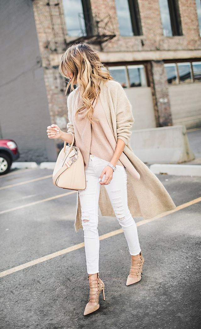 Neutrals - White Ripped Denim / Long Nude Tan Coat / Givenchy Bag / Aquazzura Lace Up Pumps http://FashionCognoscente.blogspot.com
