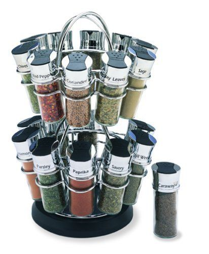 Olde Thompson 20-Jar Flower Spice Rack by Olde Thompson. $49.77. Each Jar is Labeled for easy Use. Fully Assembled. Glass and Chrome jars. Saves Countertop Space. Filled with 20 Favorite Spices. Olde Thompson 20 Jar Flower Spice Rack.  Contemporary spice rack perfect for countertop storage of your spices. Revolving unit is attractive and functional in design. Unigue flip top lids, with shake or pour feature. Glass jars come filled with 20 of your favorite spices. Measures 15-i...