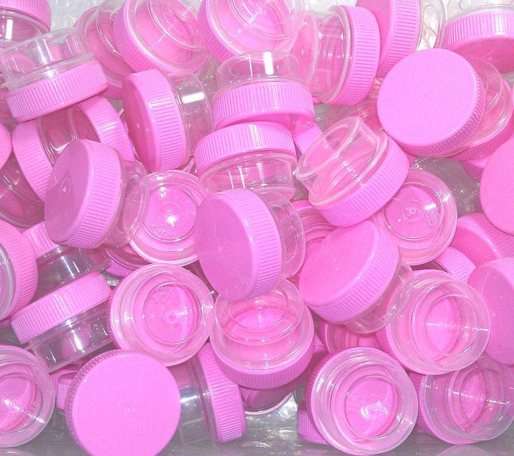 50 TINY JARS 1 TSP SIZE Pink Caps Container RX Posh Salon Sample 3301 DecoJars  #DecoJars
