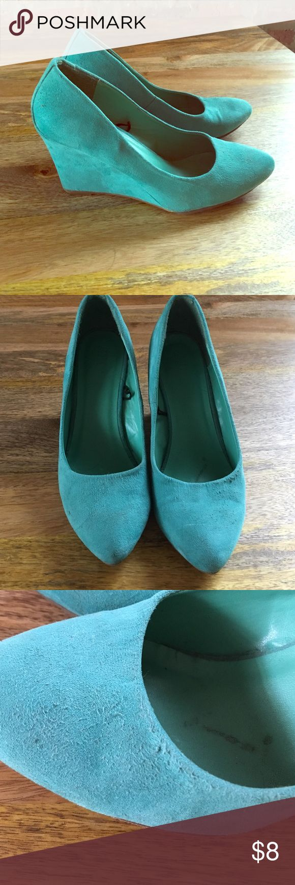 "Forever 21 Suede Turquoise Wedge Heel - 7.5 Super cute. Heel is 3"" some wear and tear. Fits on smaller side of a 7.5. Forever 21 Shoes Wedges"