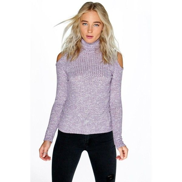 Boohoo Talia Roll Neck Open Shoulder Rib Jumper ($20) ❤ liked on Polyvore featuring tops, sweaters, lilac, purple sweater, party jumpers, chunky turtleneck sweater, nordic sweater and wrap sweater