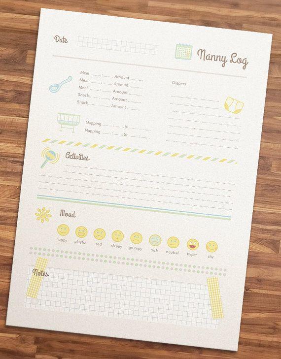nanny log printable nanny log for nannies nanny binder baby dyi babysitting. Black Bedroom Furniture Sets. Home Design Ideas