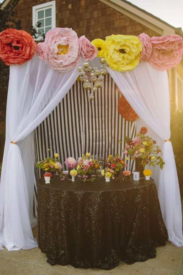 cute sweetheart table. sequin table with canopy curtain makes it a little more your own space on your special day.
