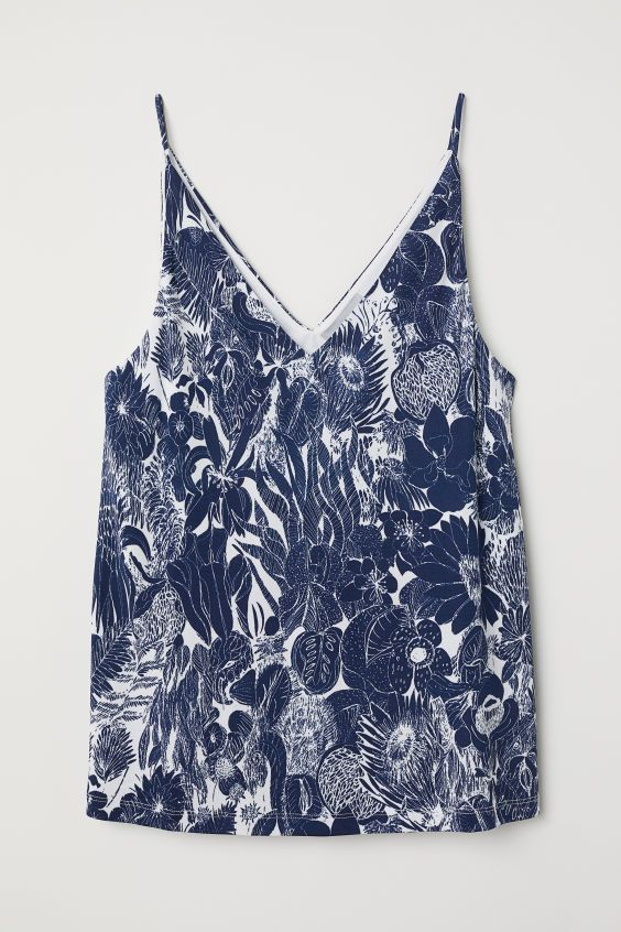 2b19f87addc98 V-neck Camisole Top - Dark blue white patterned - Ladies