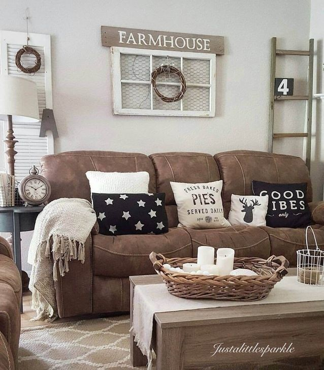 Farmhouse Style Decorating Ideas, Living Room Decor Ideas With Brown Leather Couches