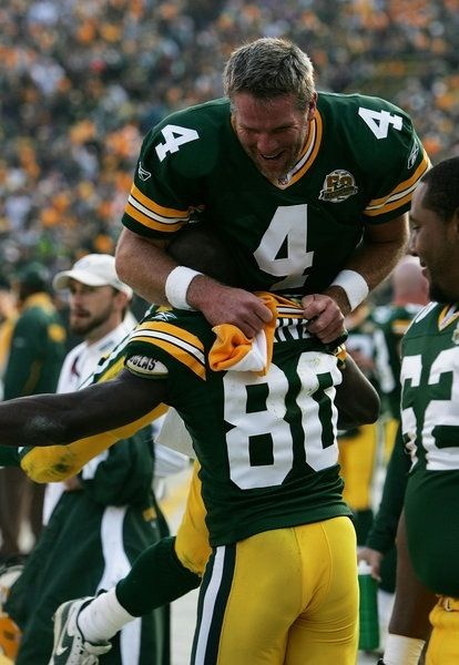 Brett Favre, Donald Driver, Green Bay Packers.  A common occurrence but two of my favorite Packers of any era. #packers #nfl #vintage