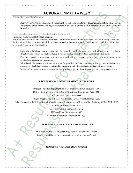 special education teacher resume sample page 2