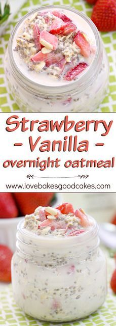 """""""Fuel up"""" with this Strawberry Vanilla Overnight Oatmeal recipe. It's a great way to start your day with a delicious and healthy breakfast! AD"""