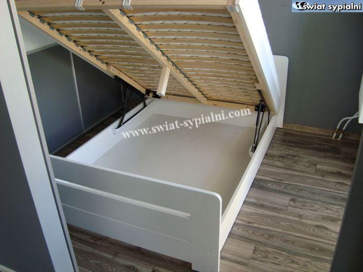 Łóżko drewniane Proste 140x200 z pojemnikiem białe