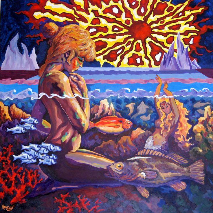 #381 - Génesis del Mediterráneo - Autor: RomSabi, acrílico y esmaltes sobre tabla de madera - 80 x 80 cm -