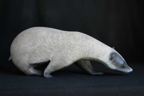 Bronze Wild Animals and Wild Life sculpture by artist Adam Binder titled: 'Foraging Badger (Small bronze searching)'