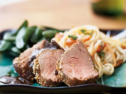 Hoisin Pork Tenderloin   To prepare two servings of hoisin pork, replace the tenderloin with two (four-ounce) boneless pork chops, and reduce the marinade ingredients by half. Sprinkle each pork chop with one teaspoon sesame seeds for the last 5 to 10 minutes of cooking.