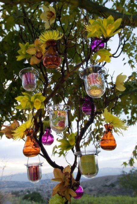Simple and Beautiful!: Gardens Ideas, Recycled Glasses, Secret Gardens, Color Glasses, Outdoor Parties Decor, Wedding Ideas, Trees Decor, Candles, Hanging Lanterns
