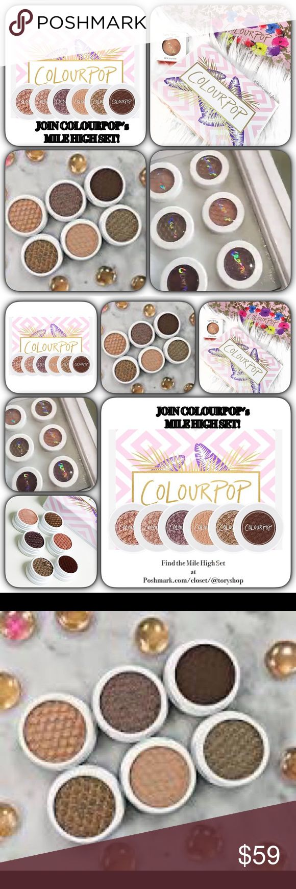 💞Nip/COLOURPOP's Mile High Shadow 6 Shadow SET💞 💞Nip/From COLOURPOP/6 coordinating Shadow SET! MILE HIGH! Colors include/1)Truth:neutral lgt beige shadow w satin finish/2)Nillionaire:wm bronze w tons of gold & multi coloured glitter w Metallic finish/3)So Quiche:soft olive w refelective gold/pink chrome metallic finish/4)LaLa: True Rose Gold in ULTRA METALLIC FINISH/5)Cricket:Smokey mid-tone plum w wrm & cool highlights w soft glitter/6)Mittens:deep wm brn w red violet undertone w matte…