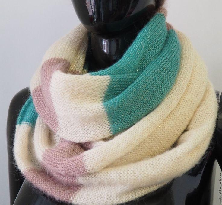 Купить Шарф-снуд из кид-мохера на шелке - подарок, снуд, снуд-шарф, шарф из мохера