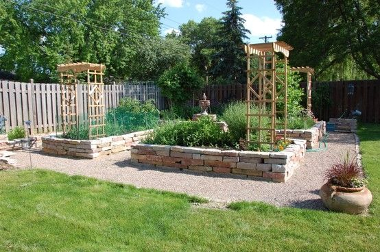 Brick raised beds