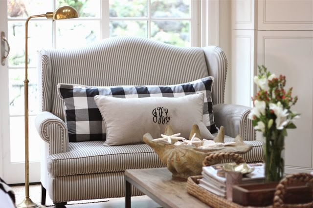 Ticking stripe and buffalo check. Monogram pillow.: Ticking stripe and buffalo check. Monogram pillow.
