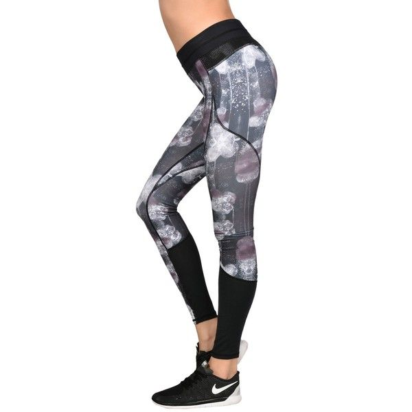 Freddy Leggings (120 CAD) ❤ liked on Polyvore featuring pants, leggings, black, patterned trousers, print pants, black print pants, black print leggings and black pants