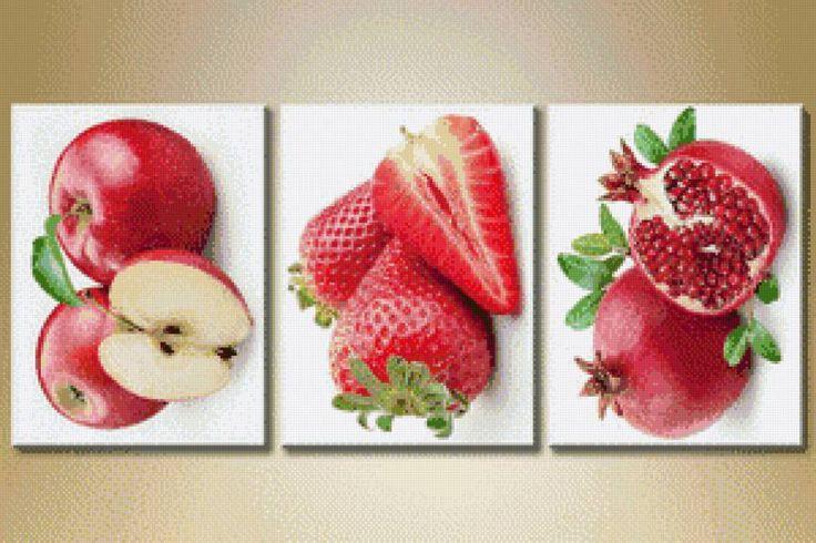 Схема вышивки «триптих фрукты»