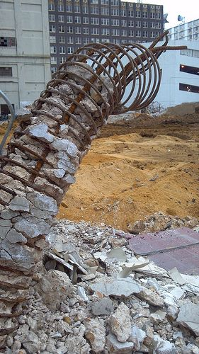 Structural steel at demolition site - Downtown memphis, TN