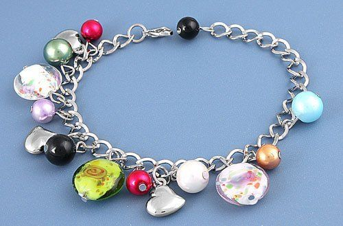 "Women's Bracelet -Glass Charm Bracelet with three large glass flower charms enhanced by colorful phony pearls with adjustable clasp.Length:9"" JewelryVolt. $3.99. Save 43% Off!"