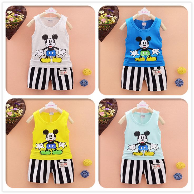Summer Baby Boy Clothing Set Mickey Sleeveless Shirt + Striped shorts Kid clothing set Boy Summer Mickey Children Clothing Set