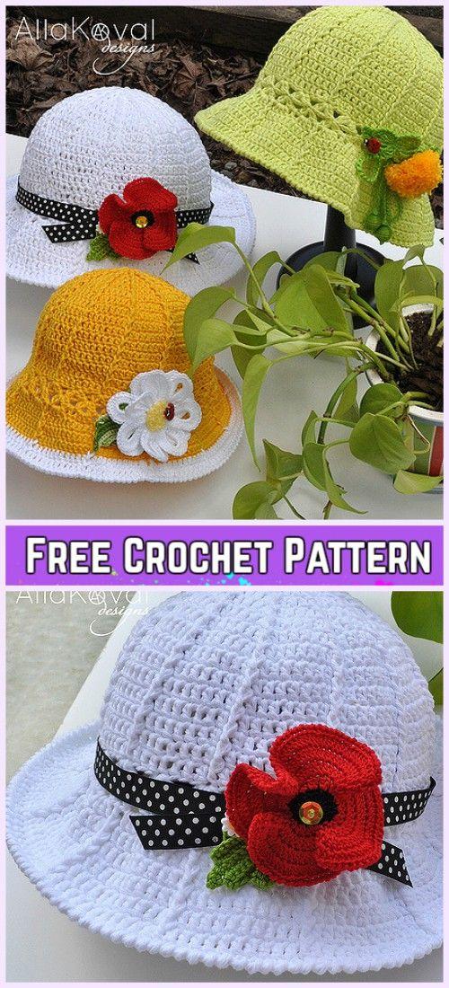 Crochet Little Girls Sun Hat Free Patterns - Crochet Garden Party Hat Free Pattern