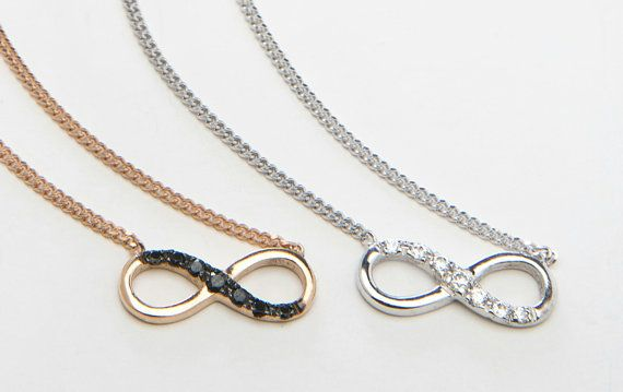 This infinity necklace is made of sterling silver,set with swarovski zircons and hangs on a silver chain.Simple and elegant is suitable for everyday use. A perfect gift as it symbols an infinity love,a friendship,lots of luck,and positive energy. This necklace is 40cm[about 16inch]from end to end but if you prefer a different length let us know at check out. Via elegantjewelbox on Etsy, $22.00