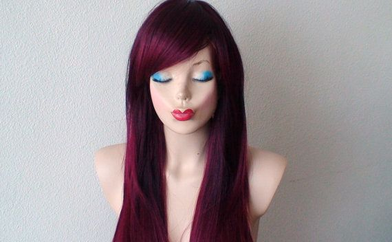 Color: Burgundy Wine Red Ombre Colored Style: Long