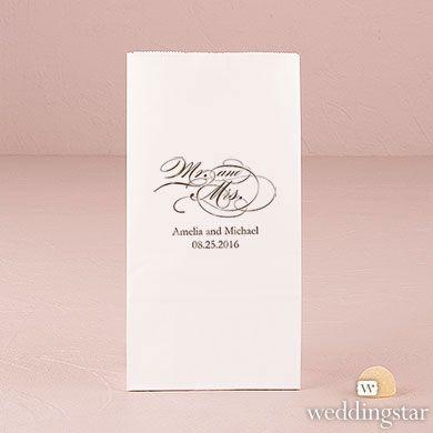 Mr and Mrs - Script Self-Standing Paper Goodie Bag