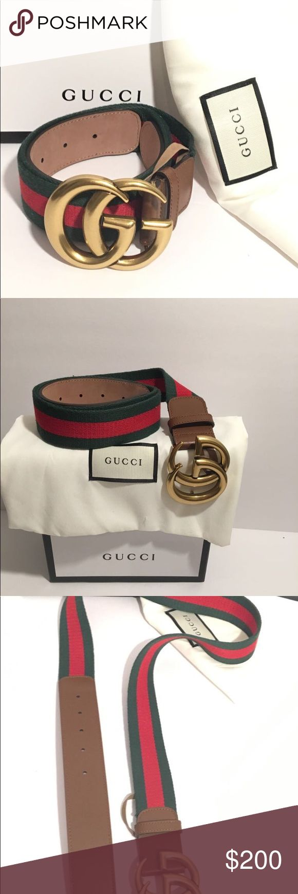 Brand new Gucci belt brown green/red Brand new Gucci belt brown green/red with double gold buckle.                                                 Comes with tags,box and dust bag.                        ( Unisex ) Gucci Accessories Belts