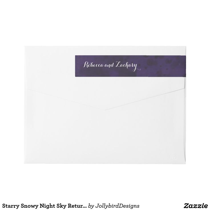 Starry Snowy Night Sky Return Address Label Wraparound Return Address Label #lovely #weddingcollection #starry #snowy #night #sky #watercolor #wedding #invitation #returnaddresslabel