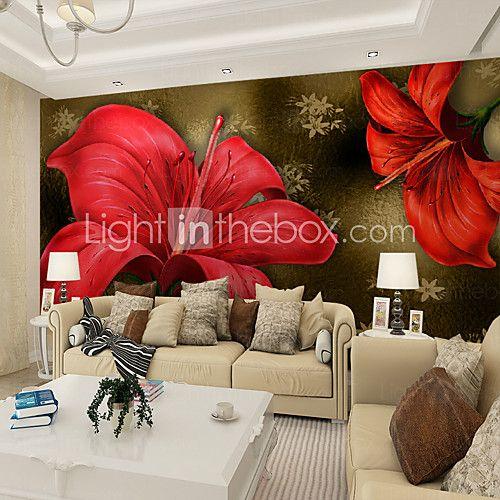 Цветочные Ар деко 3D Обои Для дома Современный Облицовка стен , Холст материал Клей требуется фреска , номер Wallcovering 2017 - $84.99