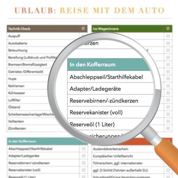 Checkliste Reise mit dem Auto zum Download