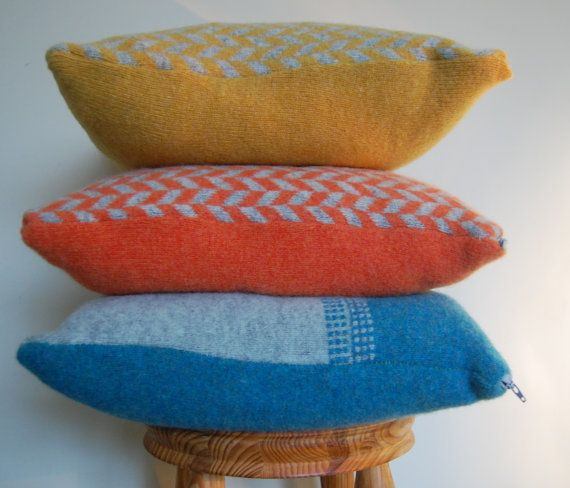 Orange and Grey Lambswool Cushion Cover with Cushion Pad Free P&P