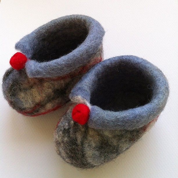 Grey - white and red felted baby booties.