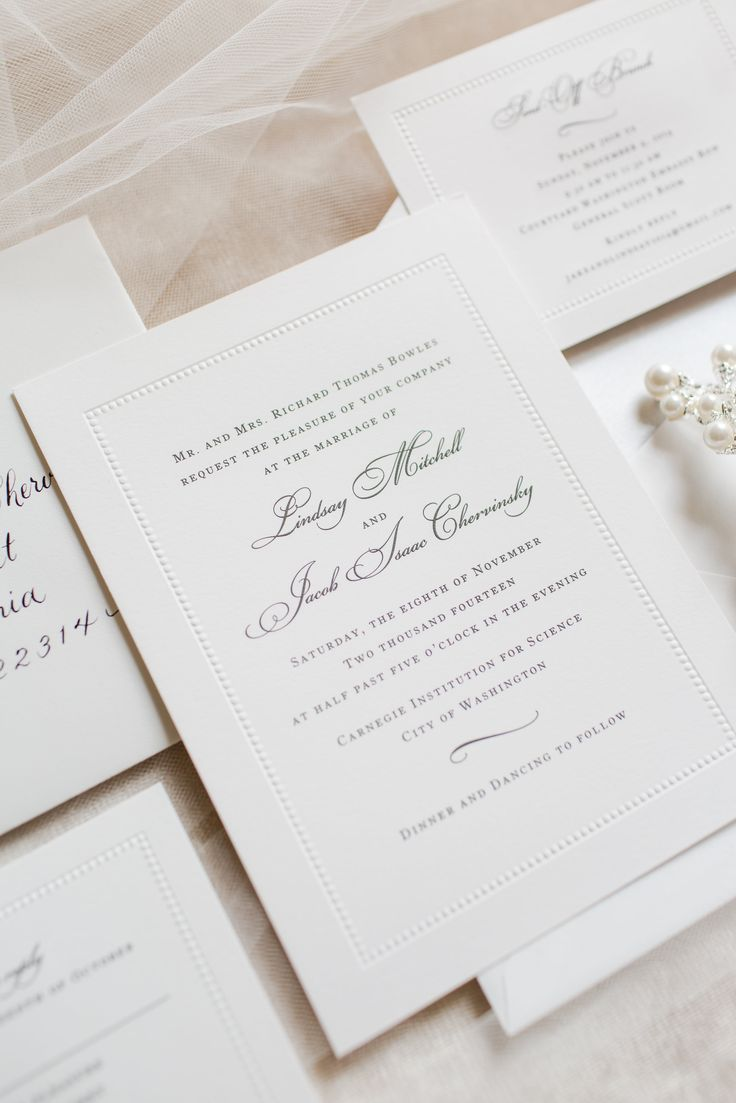 Lovely wedding invitations and stationary for this preppy and classic black and white wedding | Photograph by Katelyn James Photography