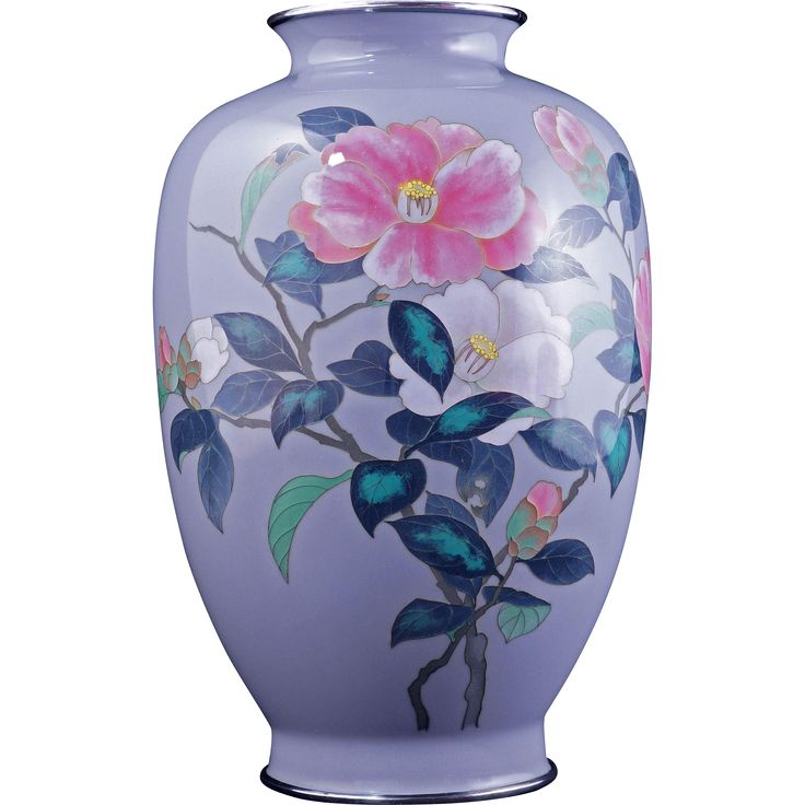 Japanese cloisonné vase with camellia design early 20th century