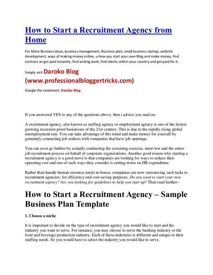 How to start a recruitment agency from home(business ideas
