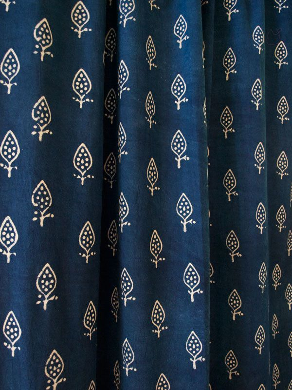 "Hand Block Printed Curtain Cotton Panel Wood Button Loops Natural Dye Indigo 86"" #heritage"